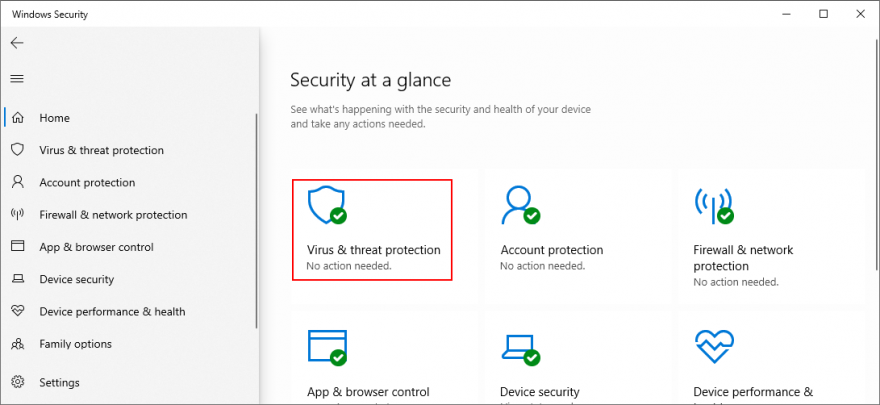 Windows Card shows how to clepe Bacterium ladino Threat Protection