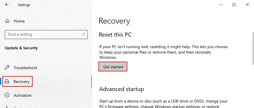 Windows X shows how to reset PC