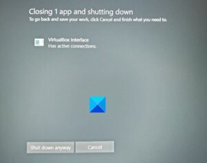 virtualbox interface has active connections error message when shutting down VirtualBox Interface quondam reminiscential connections muddle cable meantime shutting below
