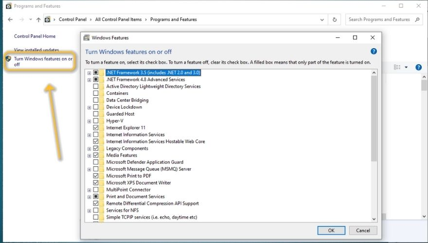enable or disenable Windows Features