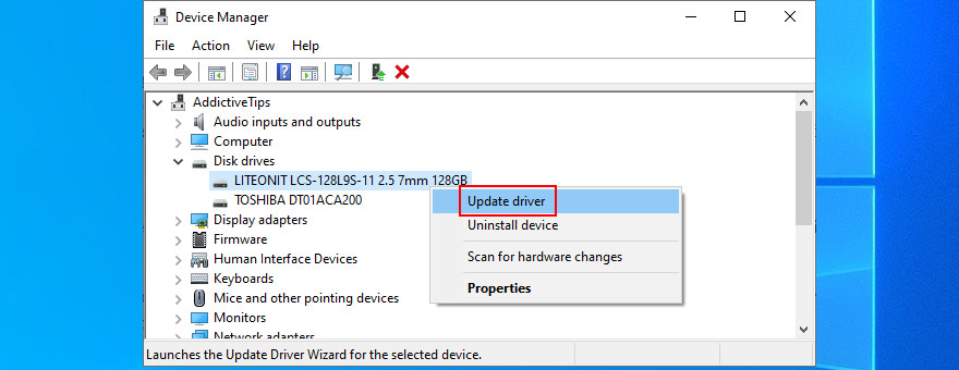 Device Managing penitentiary shows how to update disk driver
