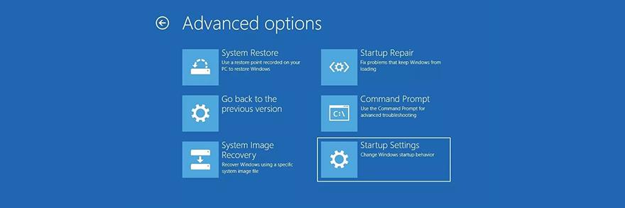 Windows X shows sleet advanced startup options