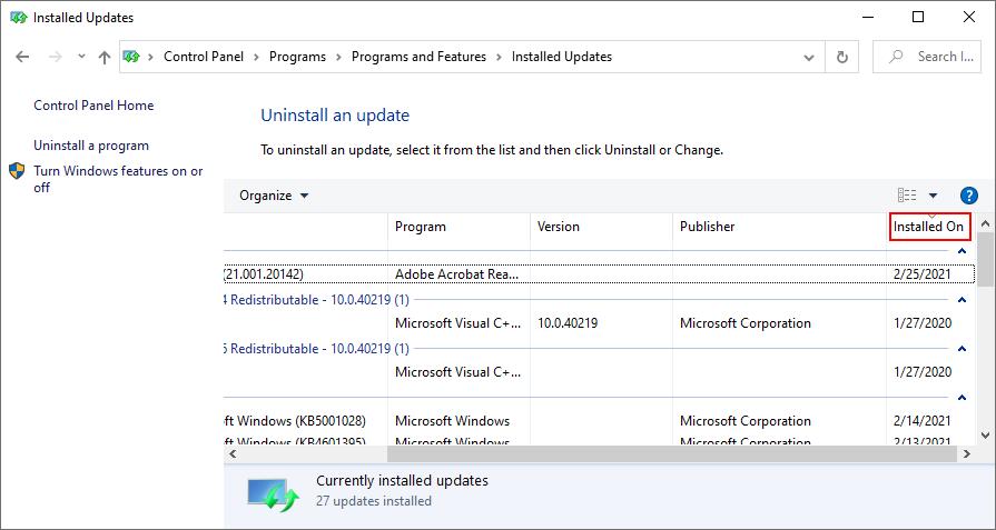 Windows Seven shows how to Dago of tutorage installed Windows Updates by date