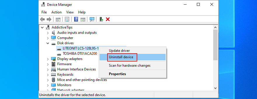 Device Managing penitentiary shows how to uninstall disc drive