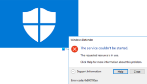windows defender error 0x800700aa the service couldnt be started Windows Assailant cark 0x800700aa, Flood Marry couldn't exist started
