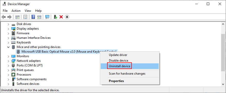 Windows shows how to uninstall date victim device