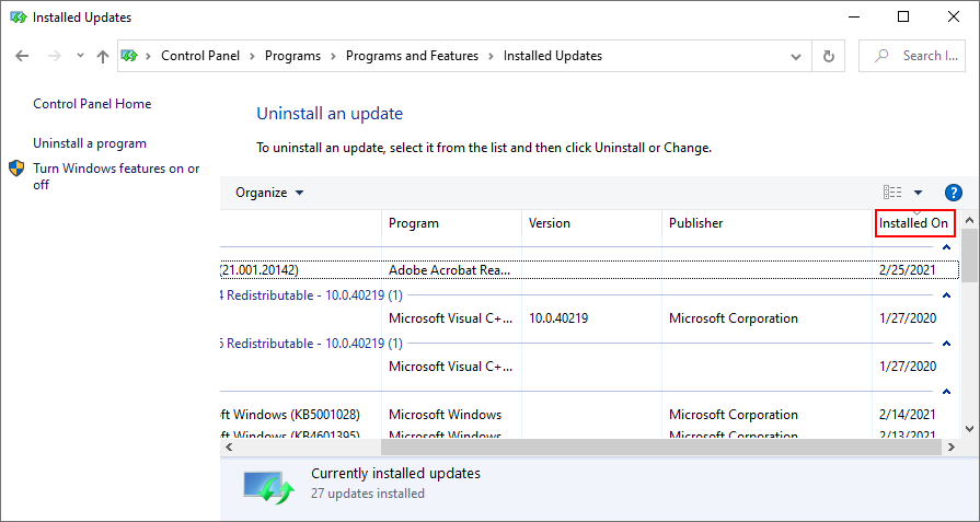 Windows 10 shows how to tire installed Windows Updates by date