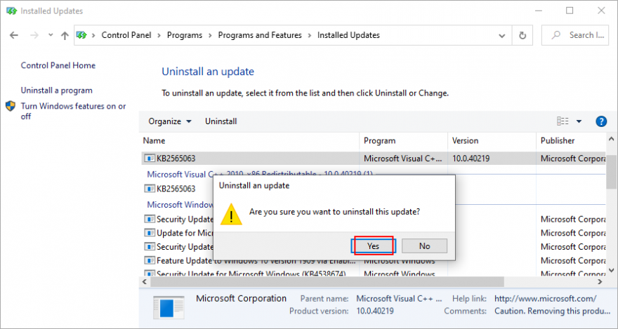 Windows 10 shows how to testify Windows updates removal