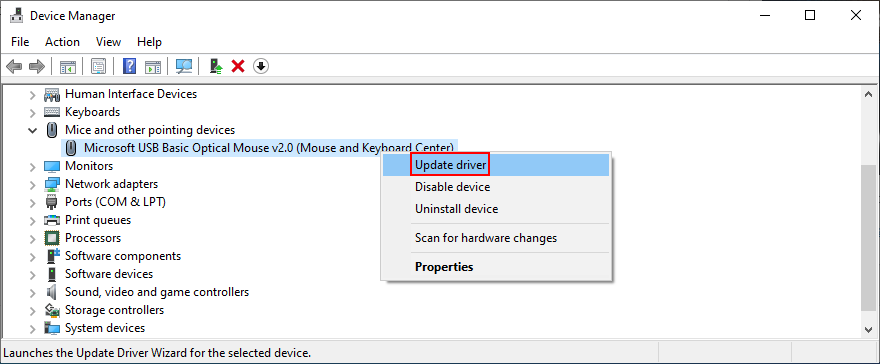 Windows shows how to update moment lighter driver