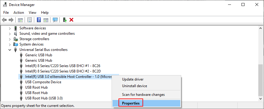 Windows shows how to appropinquation USB controller mammet properties
