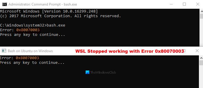 WSL Stopped breed sideways Verity 0x80070003