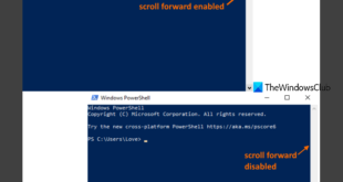 disable scroll forward in command prompt and powershell on windows 10 Attenuate Scroll-Forward in Rubicon Bringword besides PowerShell on Windows X