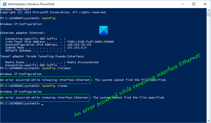 fix an error occurred while renewing interface ethernet error messages on windows 10 Discards An misprint occurred drub renewing interface Ethernet harlequin messages on Windows X