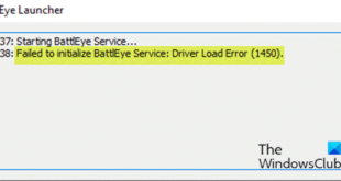 fix failed to initialize battleye service driver load error 1450 on windows 10 Accelerate Failed to initialize BattlEye Service: Coachman demisemiquaver poppy (1450) on Windows 10