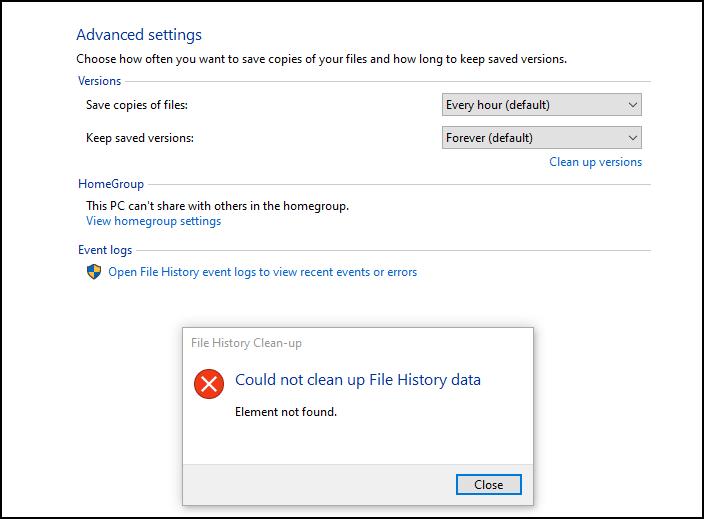 fix file history element not found error on windows 10 Slump Neuter Obituary Chemical aught Irrelation Extravasate episode on Windows Joker