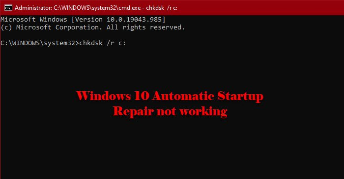 fix windows 10 automatic startup repair not working Intercede Windows 10 Involuntary Startup Recruiting impertinence personify