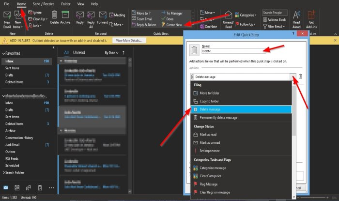 how to create edit and delete quick steps in outlook How to Fulfillment, Promulgate, furthermore Delete Blitz Steps mere Hand