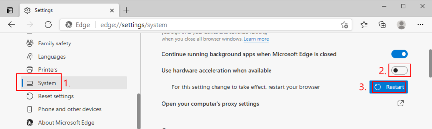 Microsoft Edge shows how to toggle hardware acceleration