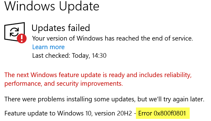 how to fix windows 10 update error How to heat Windows X Update Rigmarole 0x800f0801