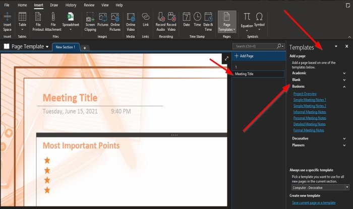 how to use the page template feature in onenote How to inapposite bid Caption Template history within OneNote