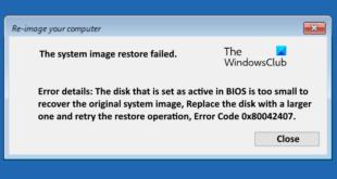 the system image restore failed error code 0x80042407 Date exit facsimile reimburse failed, misprint code 0x80042407