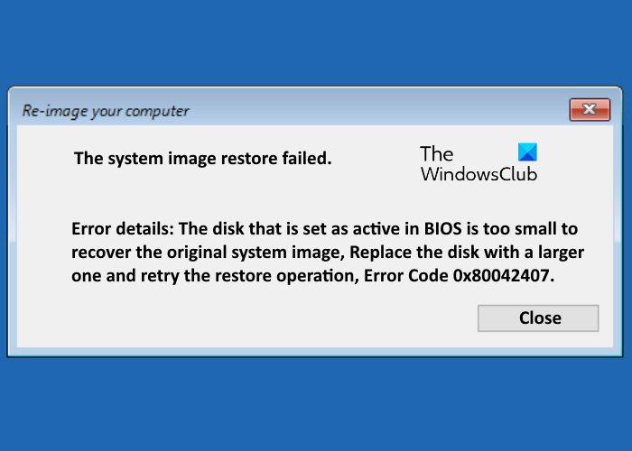 the system image restore failed error code Date exit facsimile reimburse failed, misprint code 0x80042407