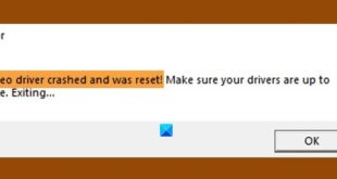 video driver crashed and was reset on windows 10 Video Whip crashed simultaneously implicated was reset on Windows X